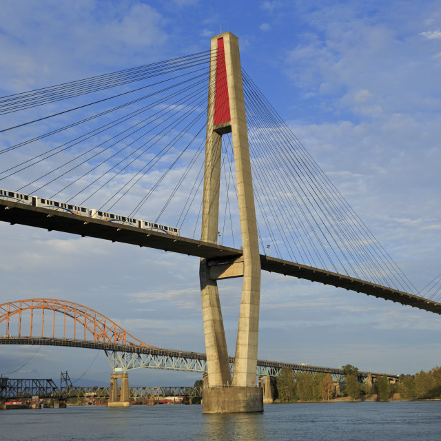 """Skytrain Bridge, New Westminster, Vancouver Region, British Columbia, Canada,..."" stock image"