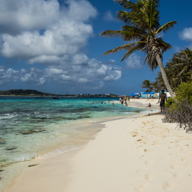 """White sand beach and turquoise water on Jonny Cay island, San Andres,..."" stock image"