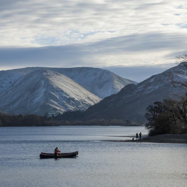 """Canoeists, Lake Ullswater, English Lake District National Park, Cumbria,..."" stock image"