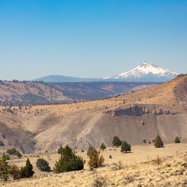"""Central Oregon's High Desert with Mt. Jefferson, part of the Cascade Range,..."" stock image"