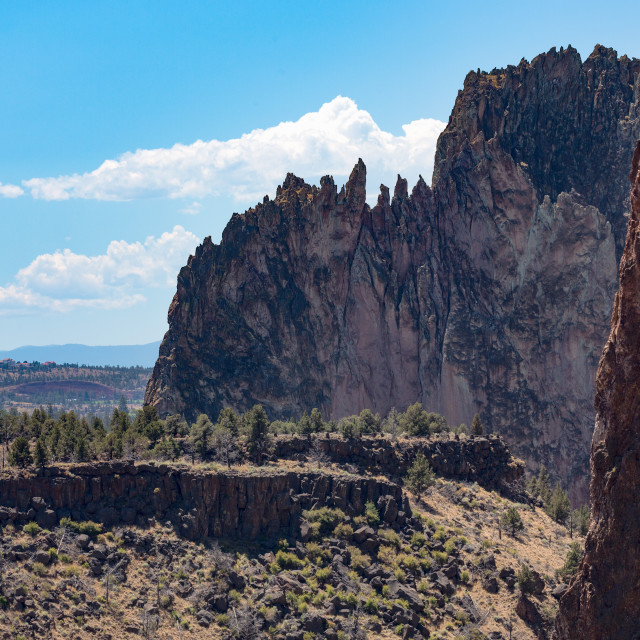 """""""The rugged Smith Rock State Park in central Oregon's High Desert, near Bend."""" stock image"""