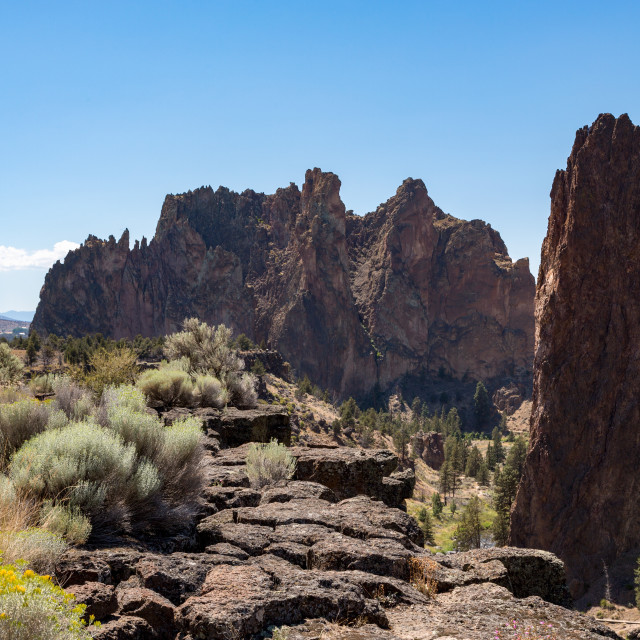 """The rugged Smith Rock State Park in central Oregon's High Desert, near Bend."" stock image"