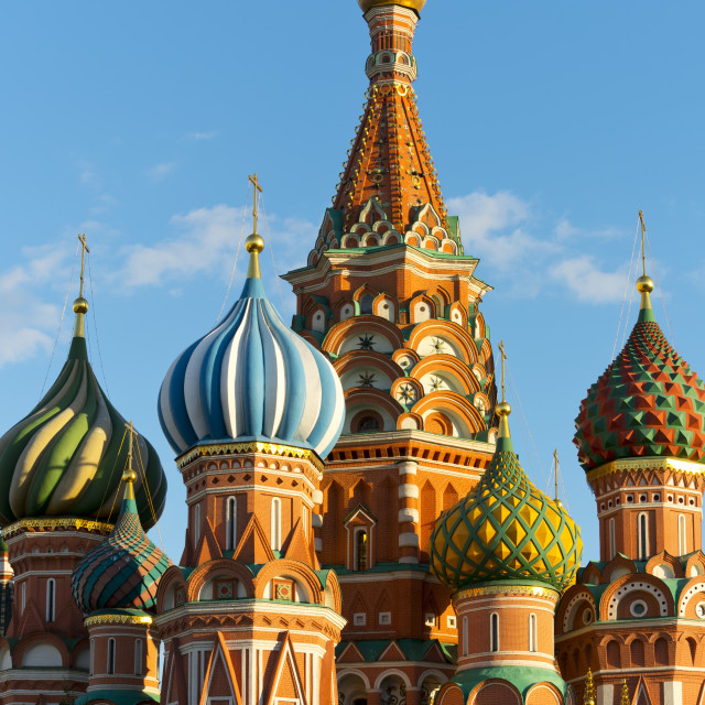 """Close-up of the Domes of Saint Basil's Cathedral, Moscow, Russian Federation"" stock image"