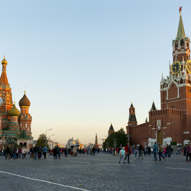 """Red Square, Saint Basil's Cathedral and the Savior's Tower of the Kremlin,..."" stock image"