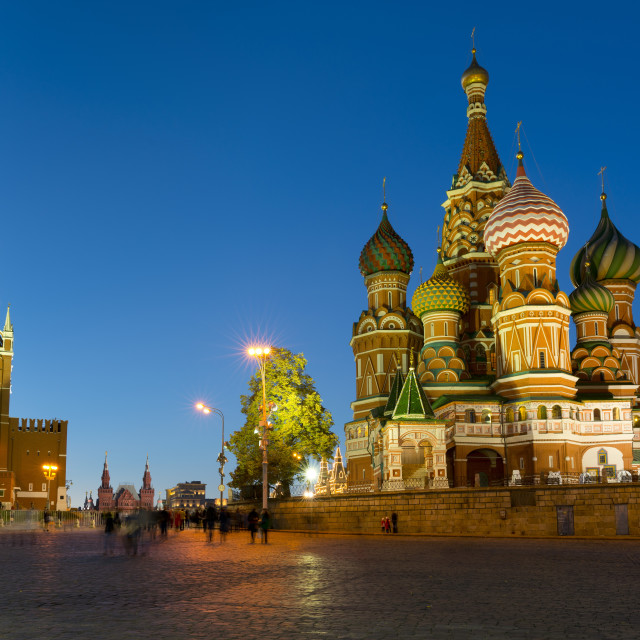 """Red Square, Saint Basil's Cathedral and the Savior's Tower of the Kremlin lit..."" stock image"