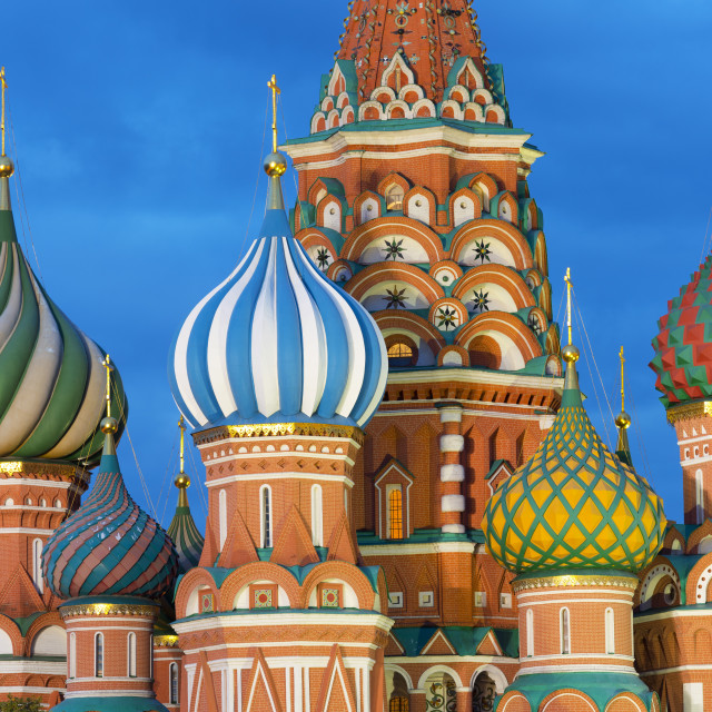 """Saint Basil's Cathedral lit up at night, Moscow, Russian Federation"" stock image"