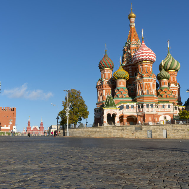 """Red Square, Saint Basil's Cathedral and the Saviour's Tower of the Kremlin,..."" stock image"