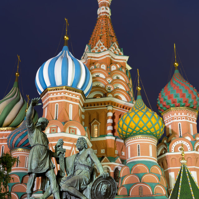 """Saint Basil's Cathedral and the statue of Kuzma Minin and Dmitry Posharsky..."" stock image"