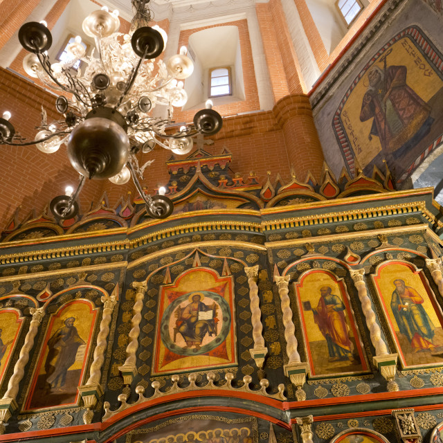 """Iconostasis inside Saint Basil's Cathedral, Moscow, Russia"" stock image"
