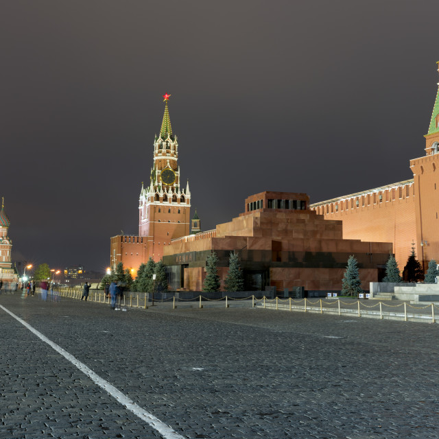 """Red Square, Saint Basil's Cathedral, Lenin's Tomb and walls of the Kremlin,..."" stock image"