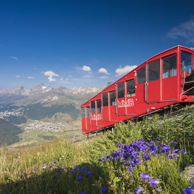 """The funicular railway runs across the alpine meadows Muottas Muragl Samedan..."" stock image"