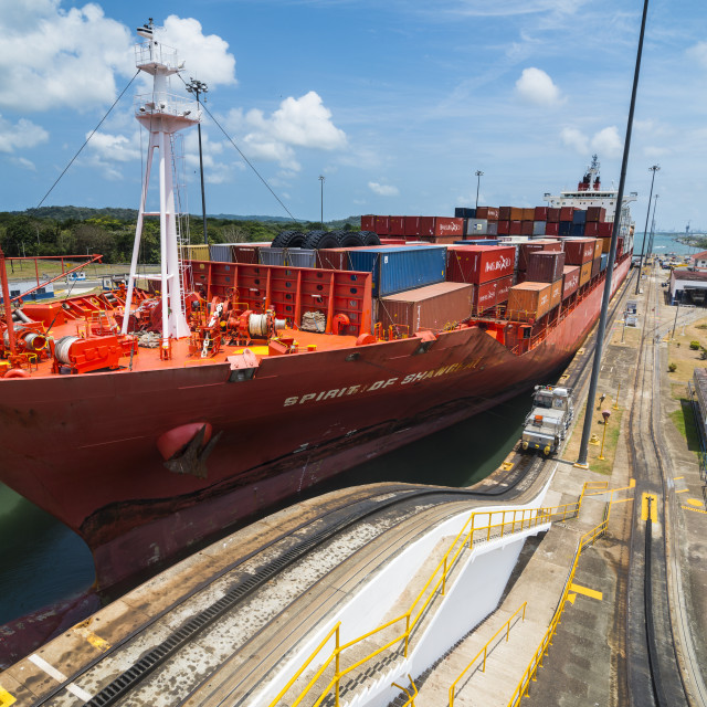 """Cargo boats passing the Gatun locks, Panama canal. Panama"" stock image"