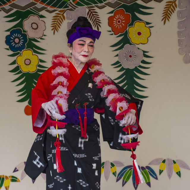 """Traditional dressed dancer, Unesco world heritage sight Shuri castle, Naha,..."" stock image"