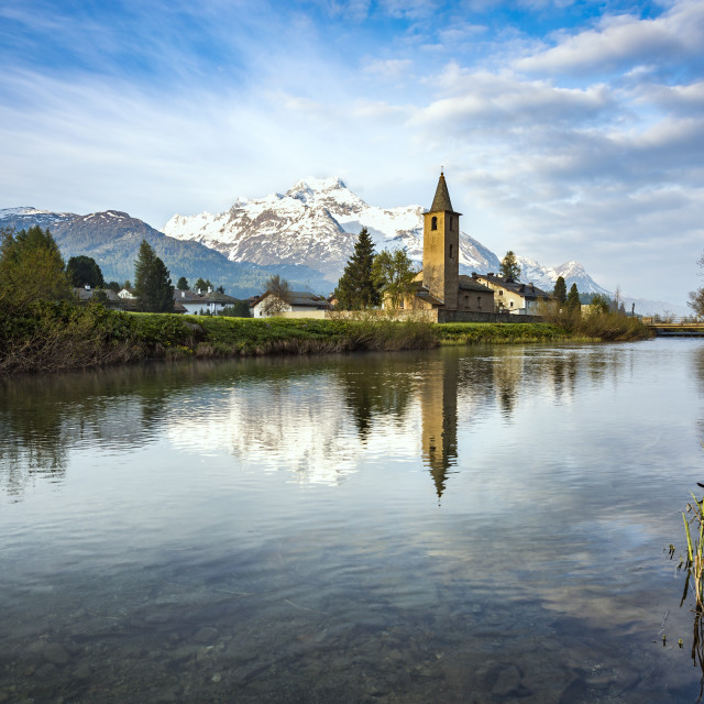 """The church of Sils-Baselgia in Lower Engadine"" stock image"
