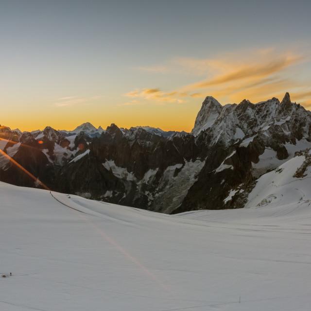 """""""Rochefort ridge with Dent du Geant. Mont Blanc Glacier, Chamonix-Mont-Blanc,..."""" stock image"""