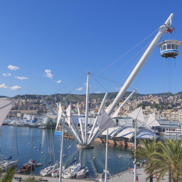 """Bigo and Genoa Harbor, Genoa, Liguria, Italy"" stock image"