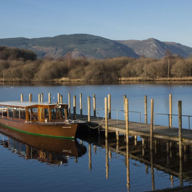 """Tourist Launch, Lake Derwentwater, Keswick, English Lake District National..."" stock image"