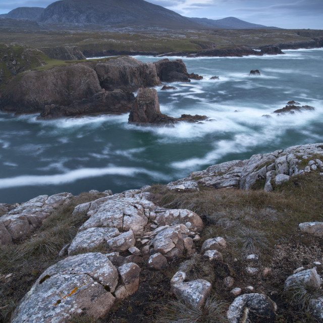 """""""A stormy evening on the dramatic coastline at Mangersta, Isle of Lewis, Outer..."""" stock image"""