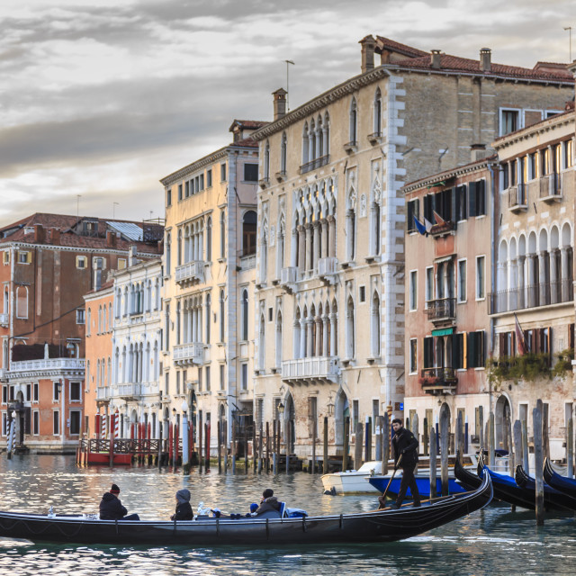 """Gondola, La Volta, Grand Canal, elaborate Gothic palazzi at sunset, Venice,..."" stock image"
