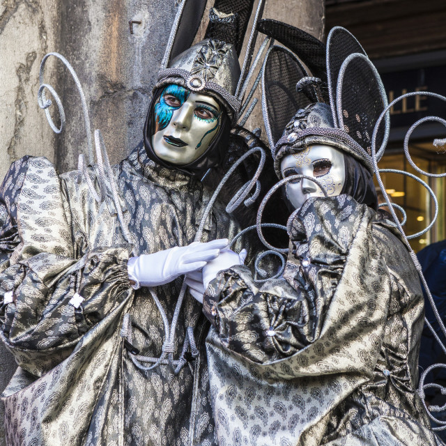 """Colorful masks and costumes of Carnival of Venice famous festival worldwide..."" stock image"