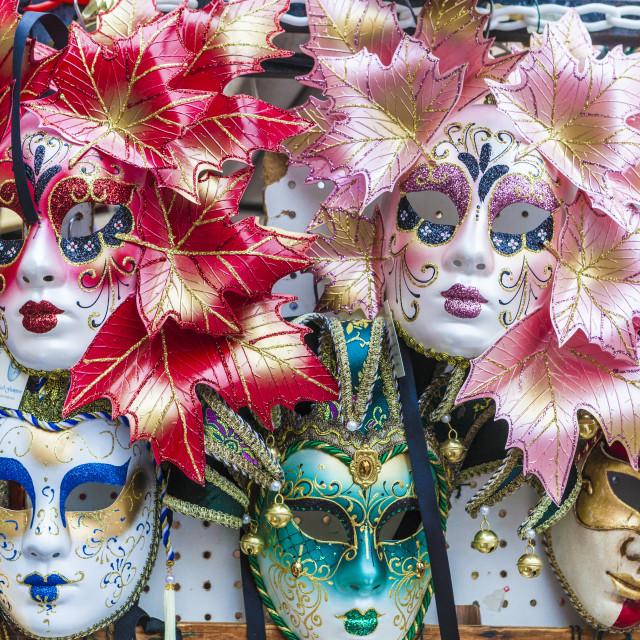 """Colorful masks of Carnival of Venice famous festival worldwide Veneto Italy..."" stock image"