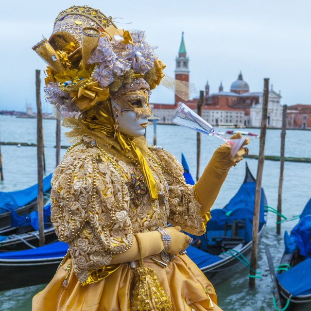 """Colorful mask and costume of Carnival of Venice famous festival worldwide..."" stock image"