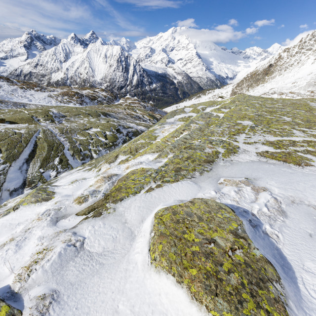 """""""Sunshine and snow at Alpe Fora with Monte Disgrazia in the background Malenco..."""" stock image"""