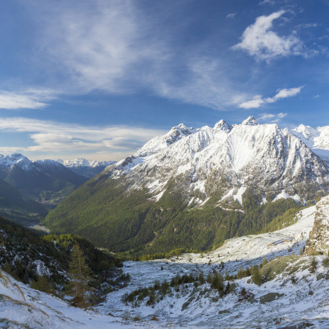 """""""Panorama of Alpe Fora with Monte Disgrazia in the background Malenco Valley..."""" stock image"""