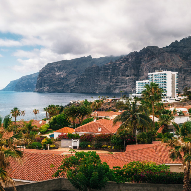 """Panoramic aerial view of the Los Gigantes cliffs on Tenerife"" stock image"