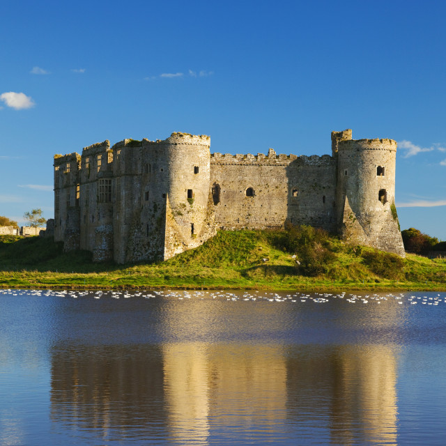 """Carew Castle, Pembrokeshire, West Wales, UK"" stock image"