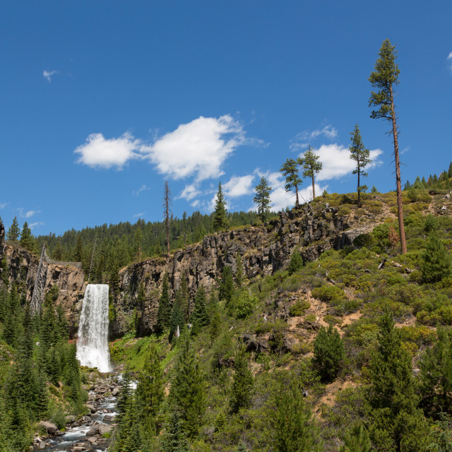 """Tumalo Falls, a 97-foot waterfall on Tumalo Creek, in the Cascade Range west..."" stock image"