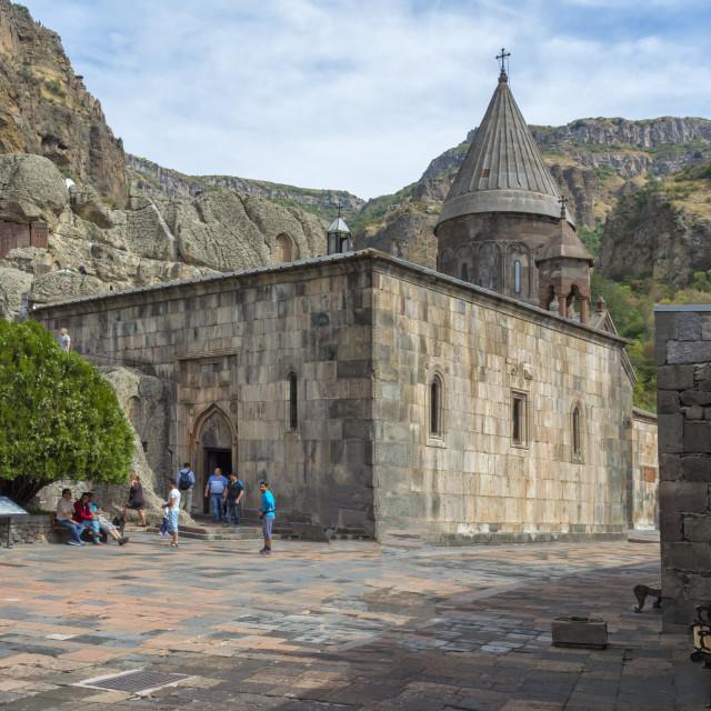 """""""4th century Geghard Monastery, Kotayk Province, Yerevan, Armenia, Caucasus,..."""" stock image"""