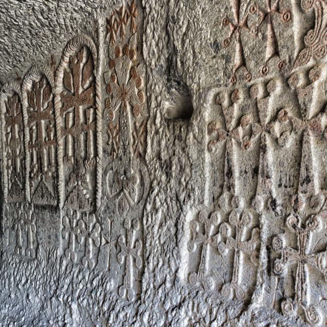 """4th century Geghard Monastery, Interior, Bas-relief, Kotayk Province,..."" stock image"