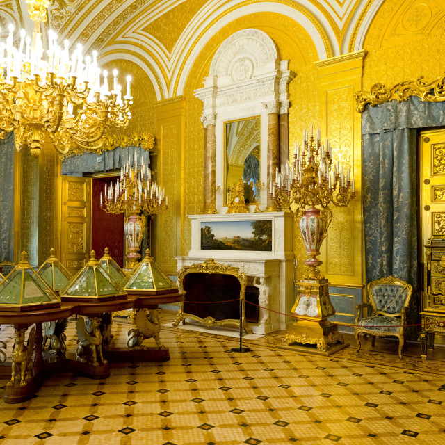 """The Golden Drawing Room inside the Winter Palace, State Hermitage Museum,..."" stock image"