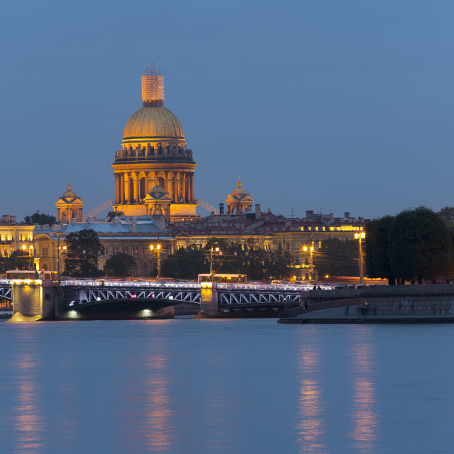 """View of the Historic Heart along the Neva River, Saint Petersburg, Russia"" stock image"