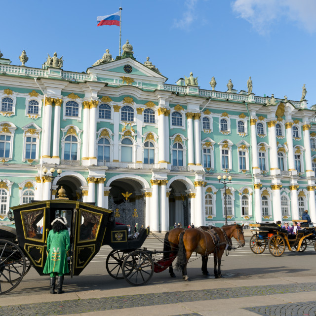 """Horse Drawn Carriages in front of the Winter Palace (State Hermitage Museum),..."" stock image"