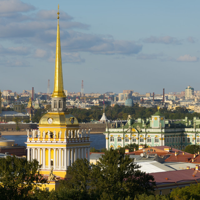 """Overview of the Winter Palace State Hermitage Museum, the Admiralty, and the..."" stock image"