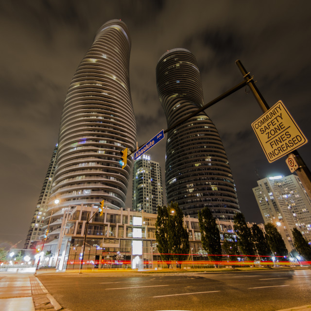 """The Absolute Tower, Marilyn Monroe buildings in Mississauga, Ontario"" stock image"