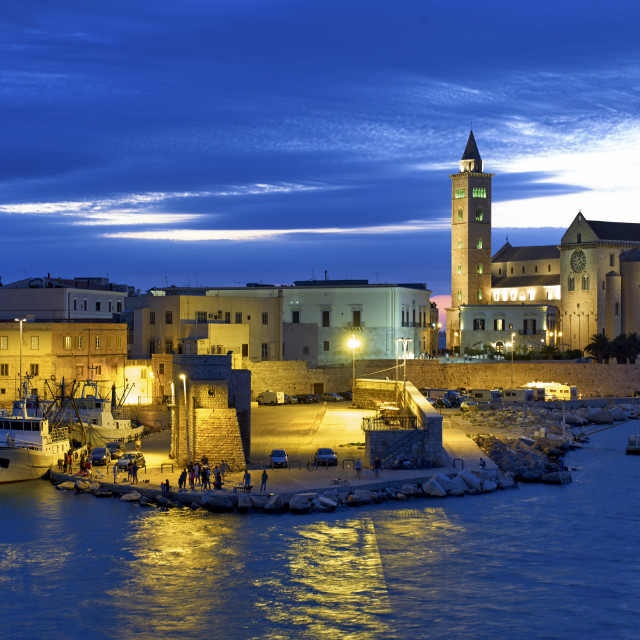 """The cathedral of Trani at sunset. Apulia, Italy"" stock image"