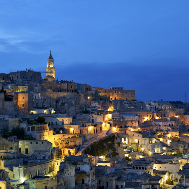 """Matera townscape at sunset. Basilicata, Italy"" stock image"