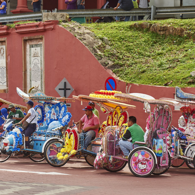 """""""Trishaw drivers waiting for a fair, Malacca City"""" stock image"""