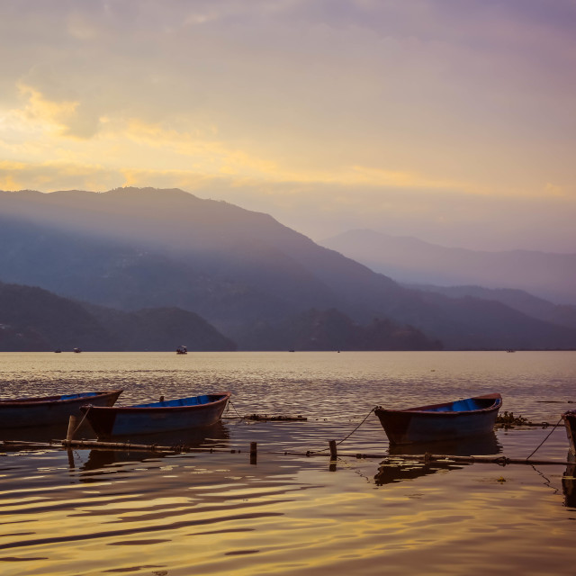 """Dusk in Pokhara"" stock image"