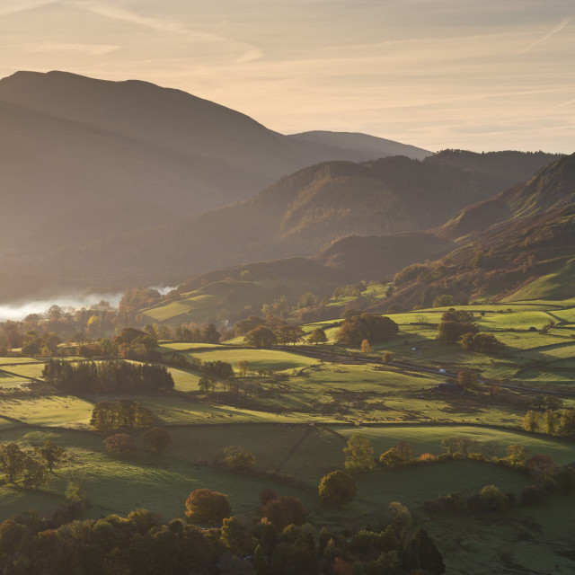 """Sunlit rolling countryside near Keswick, Lake District National Park,..."" stock image"