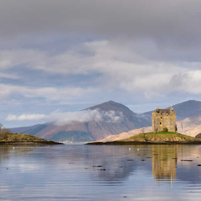 """Castle Stalker reflected in Loch Linnhe, Scottish Highlands, Scotland. Winter..."" stock image"