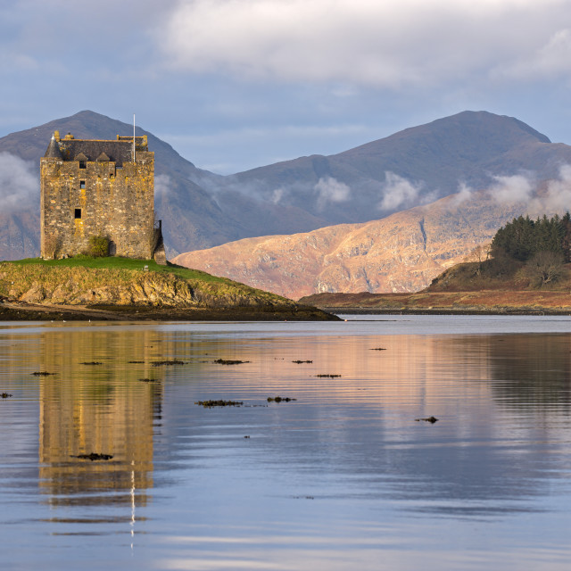 """Castle Stalker reflected in Loch Linnhe, Scottish Highlands, Scotland. Winter..."" stock image"