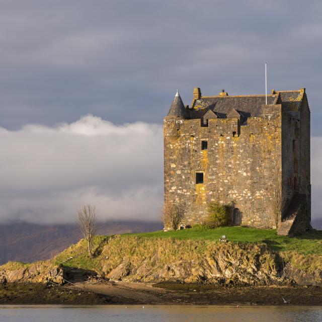 """Castle Stalker on an island in Loch Linnhe, Scottish Highlands, Scotland...."" stock image"