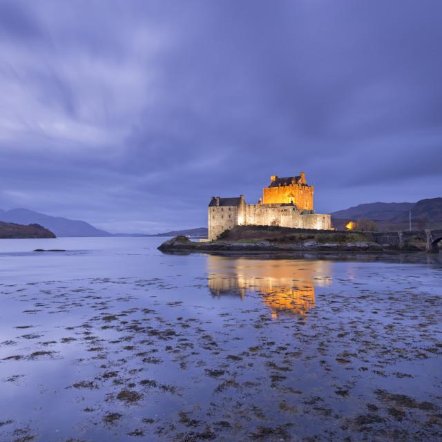 """""""Twilight over Eilean Donan Castle on Loch Duich, Dornie, Scotland. Autumn..."""" stock image"""