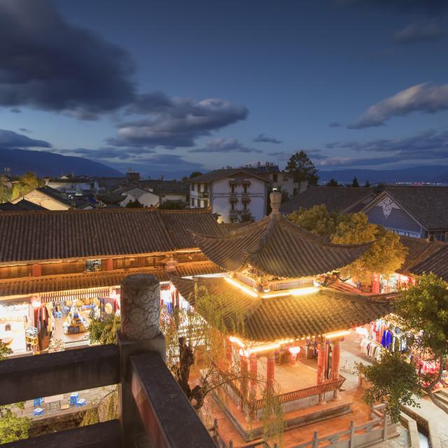 """Pavilion near Wu Hua Gate at dusk, Dali, Yunnan, China"" stock image"