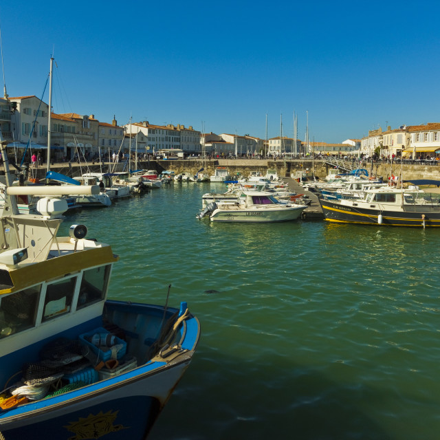 """Fishing boats & yachts in the quays at this north coast town. Saint Martin de..."" stock image"