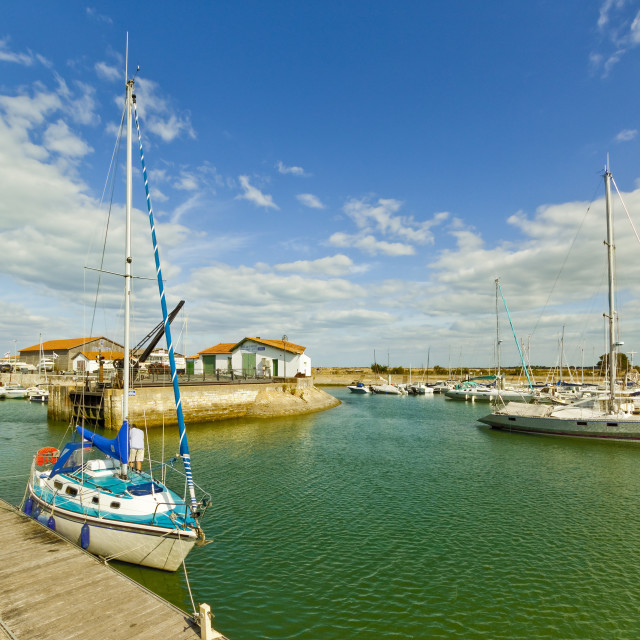 """Yacht at marina by Quai de La Criee in the island's principal western town:..."" stock image"